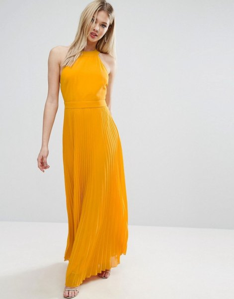 mustard halter neck maxi chiffon pleated dress