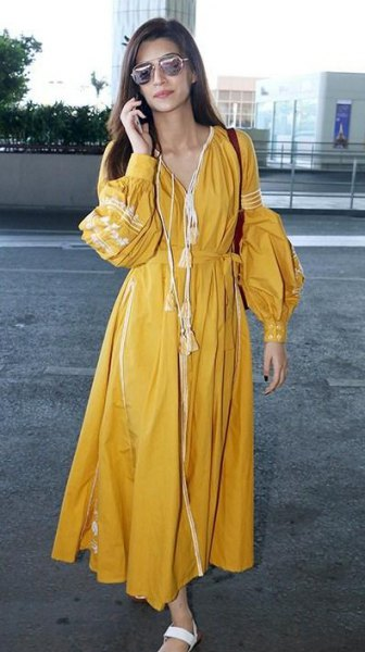 mustard v neck maxi pleated puff sleeve wrap dress