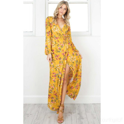 mustard yellow floral printed high split long wrap dress