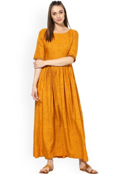 mustard yellow half sleeve pleated maxi relaxed fit dress