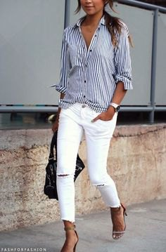 navy blue and white striped button up shirt with ripped white skinny jeans