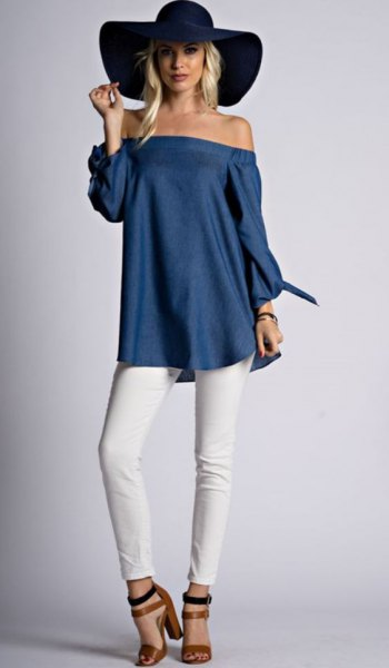 navy off the shoulder tunic blouse with black floppy hat