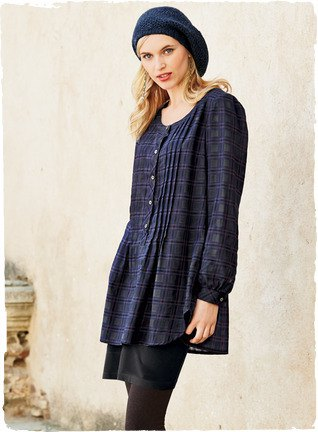 navy plaid button up long top with black leggings