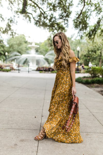 off the shoulder floral printed floor length dress