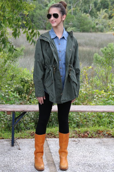 olive boyfriend jacket with light blue chambray button up shirt and leather boots