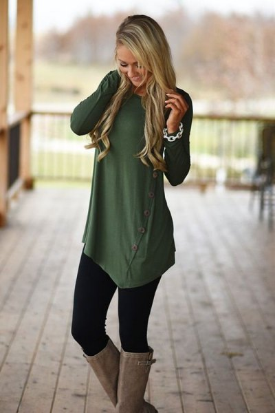 olive green asymmetric button up long shirt with leggings and knee high boots