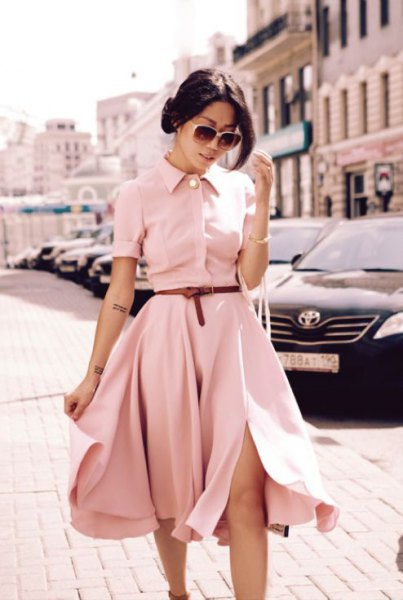 pale pink belted fit and flare midi shirt dress