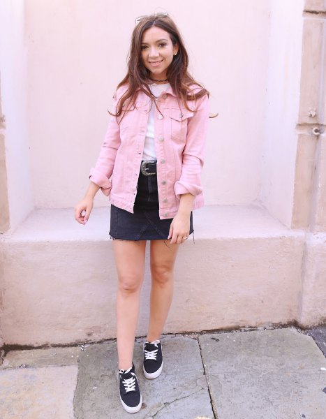 pale pink denim jacket with white tee and black denim skirt