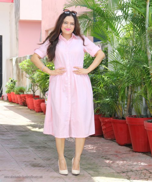 pale pink midi button up shirt dress with matching leather heels