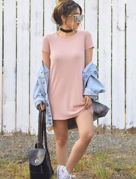 pale pink ribbed mini t shirt dress with light blue denim jacket