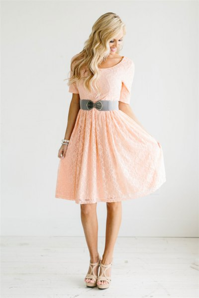 peach short sleeve belted fit and flare knee length dress