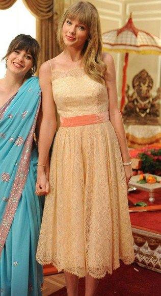 peach silk and lace gathered waist midi flared dress