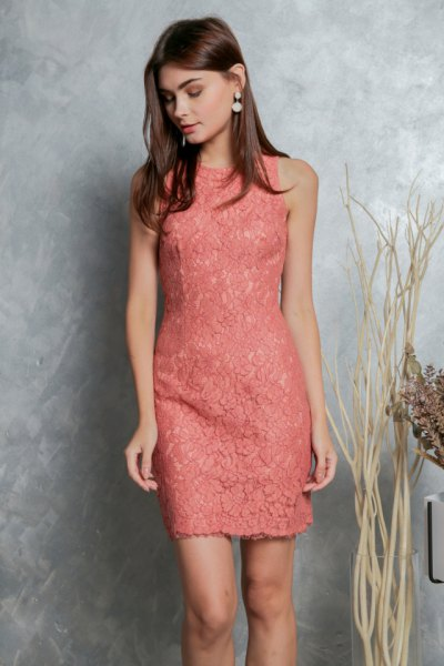 peach sleeveless lace sheath mini dress