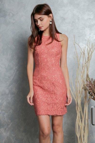 peach sleeveless lace sheath mini dress