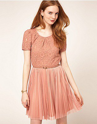 peach two toned short sleeve lace and chiffon pleated mini skater dress