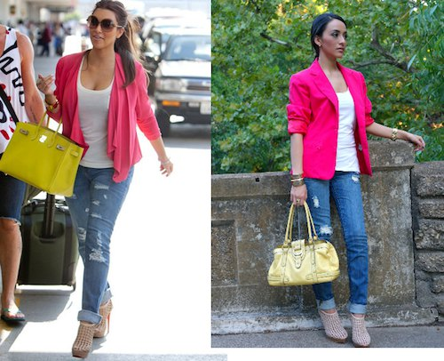 pink blazer with scoop neck white tank top and ripped jeans