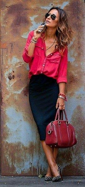 pink chambray shirt with black midi skirt