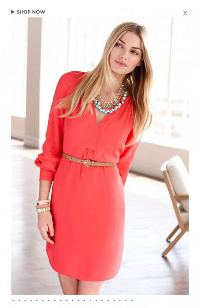 pink long sleeve belted v neck midi cocktail dress