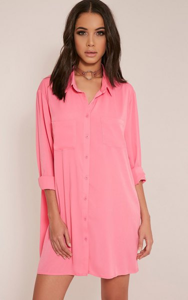 pink mini button up shirt dress with brown boho style choker