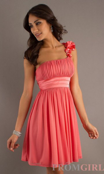 pink pleated belted mini cocktail dress
