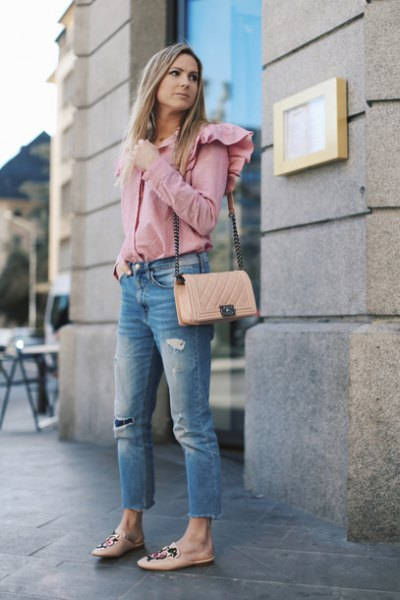 pink ruffle shoulder button up shirt with cropped jeans