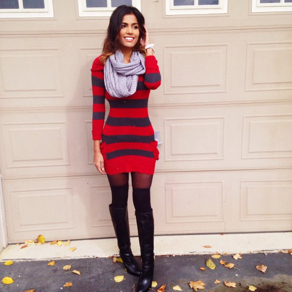 red and navy striped form fitting sweater dress with black over the knee boots