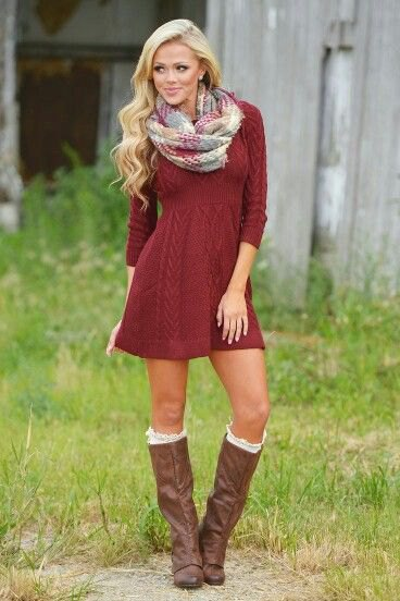 red cable knit mini flared sweater dress with grey and white scarf