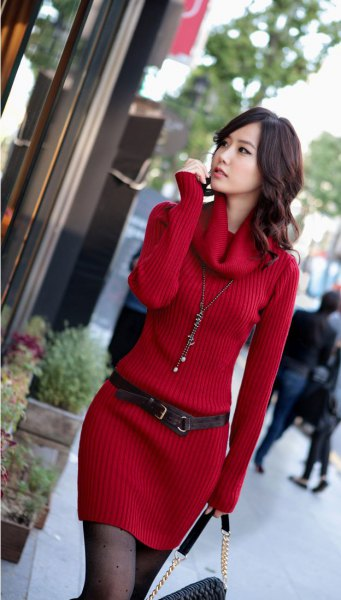 red cowl neck belted ribbed sweater dress