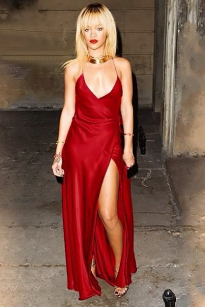 red deep v neck silk slit maxi dress with gold choker necklace