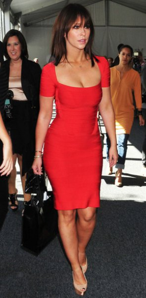 red short sleeve low cut bodycon mini bandage dress