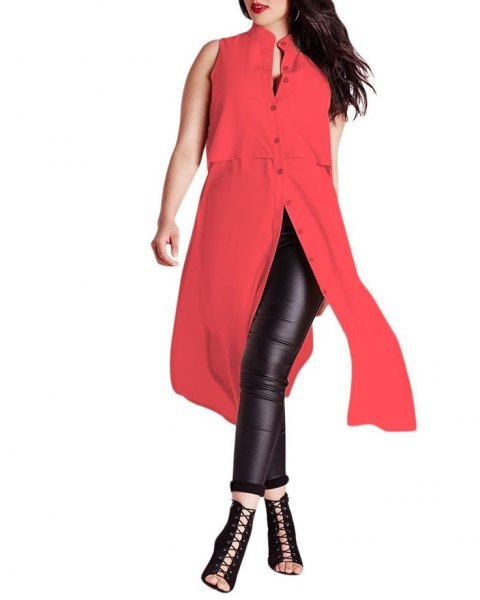 red sleeveless button up extra long tunic top with black leather leggings