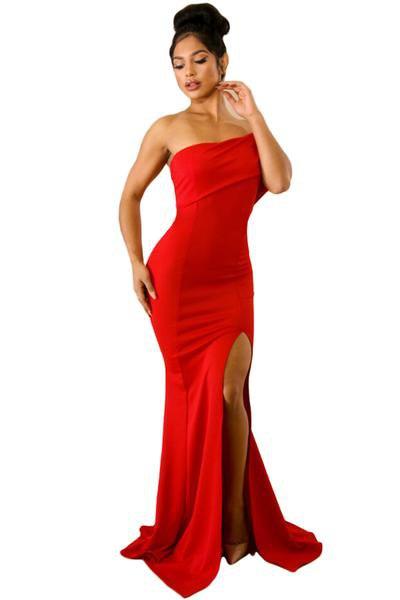 red mermaid floor length tube dress with side slit