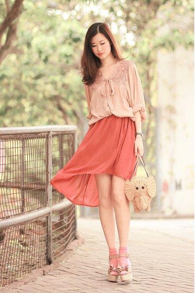 ribbon bow lace blouse with blush pink mini dress