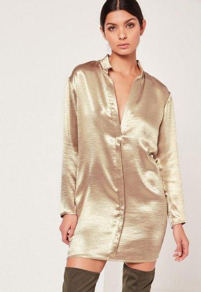 rose gold button up metallic shirt dress with thigh high boots