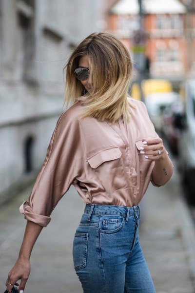 rose gold satin long sleeve shirt with mom jeans
