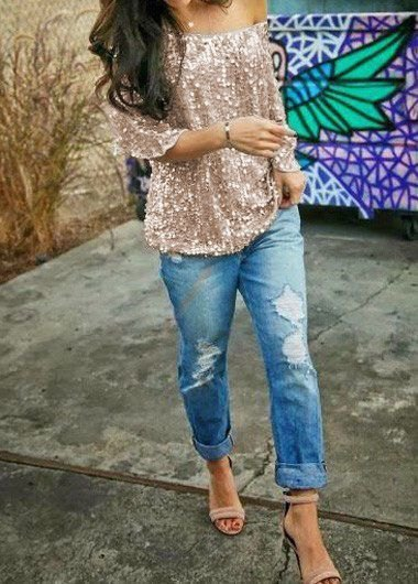 rose gold sequin one shoulder blouse with boyfriend jeans