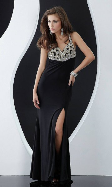 silver and black two toned sequin deep v neck slit dress