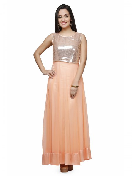 silver and peach maxi two toned shiny long dress