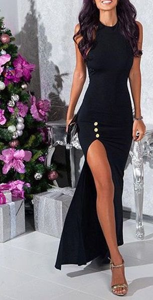 sleeveless bodycon maxi slit dress with silver open toe heels
