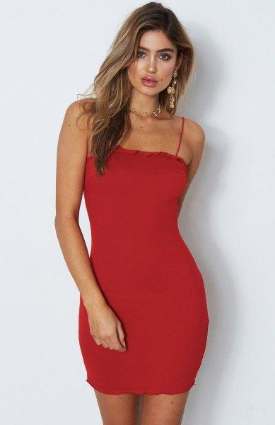 spaghetti strap mini bodycon dress with open toe heels