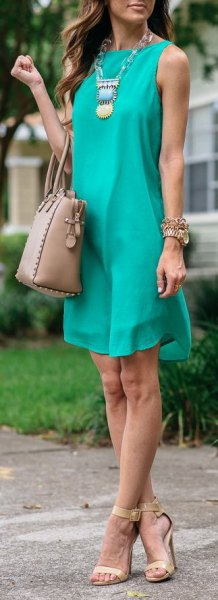 teal blue sleeveless mini chiffon shift dress with boho necklace