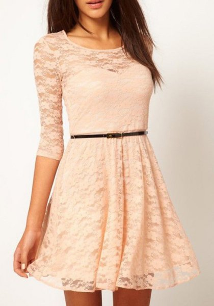three quarter sleeve belted fit and flare semi sheer lace dress