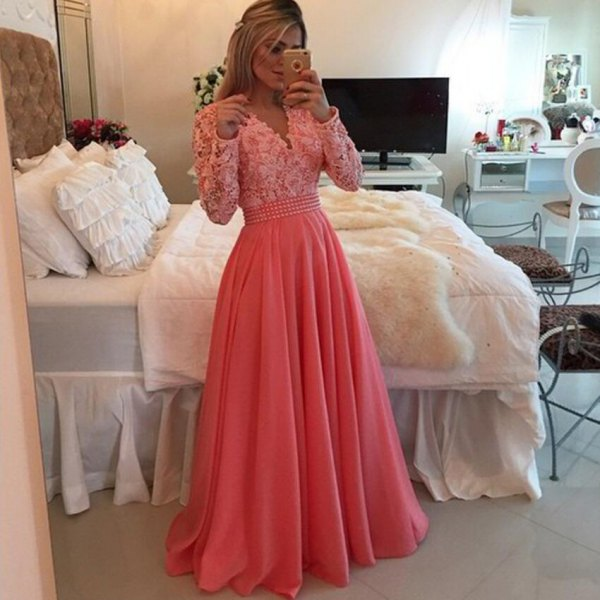 white and peach two toned fit and flare floor length dress