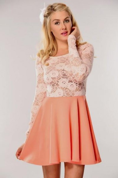 white and peach two toned lace and chiffon dress