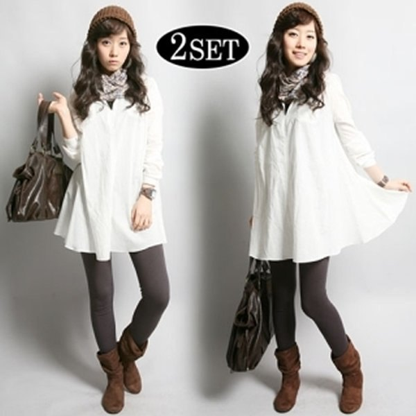white button up flared shirt with plaid scarf and grey leggings