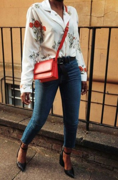 white button up floral printed blouse with blue jeans