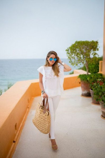 white cap sleeve lace top with straw tote bag