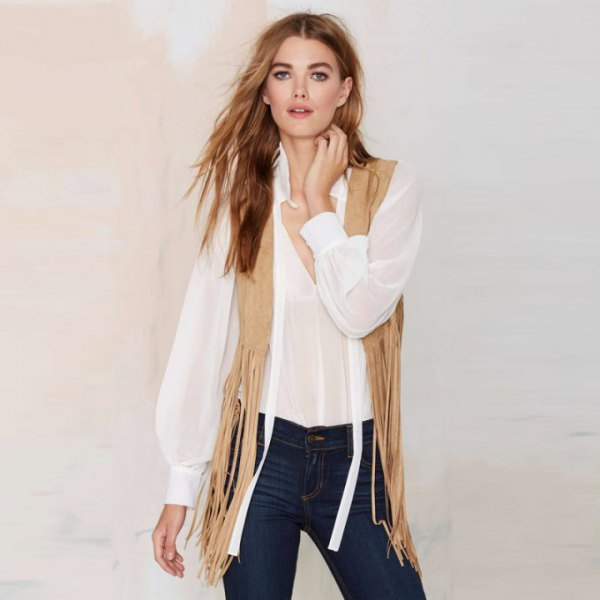 white chiffon blouse with crepe fringe hippie vest