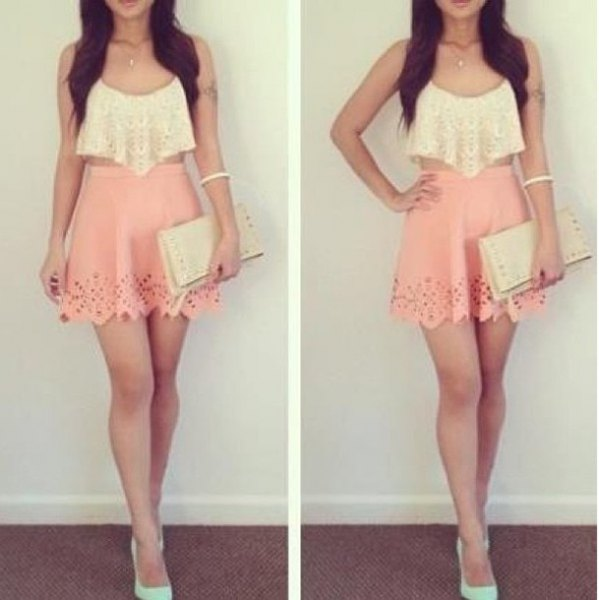 white cropped lace tank top with blush pink high waisted mini skater skirt