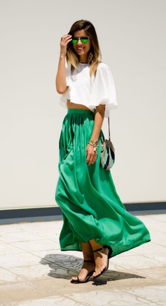 white cropped tee with green high waisted maxi skirt